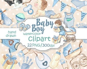 Baby Boy Clipart, Baby Clip Art, Baby Shower Invitation DIY Pack, Watercolor Nursery Pastel Blue Toys, Baby Announcement Printable.