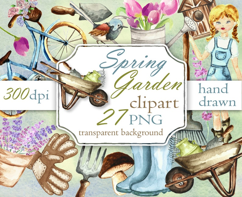Garden Tools Clip Art Hand Painted Printable spring images. Spring Garden Watercolor Clipart Spring Flowers Digital Clipart
