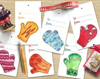 Christmas gift tags printable, Christmas tags gloves watercolor, Printable Christmas tags, Watercolor Christmas tags.