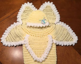 Crochet Flower Cocoon and Hat set, Photo Prop, Costume, Baby Gift