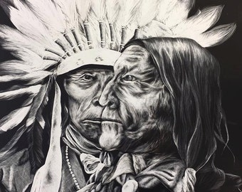 Print of Native American faces