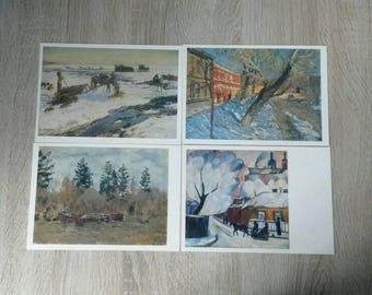 Russian and Soviet painting set of postcards, 1986, 16 vintage postcards set, postcards shop, vintage illustration, scrapbooking, paper