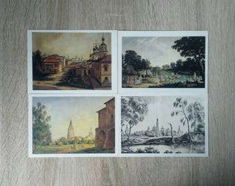 """Set of 16 vintage postcards """" Moscow and its surroundings in the landscapes of the 19th century"""", 1987, vintage paper, scrapbooking craft"""