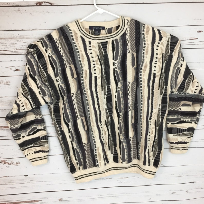 Men's Size XL Coogi Style Sweater Heavy Cotton Multi Color Textured Made in Hong Kong 434P
