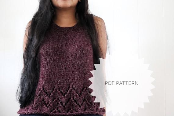 Knit Pattern Rovie Chevron Top Pattern Knitted Top Pattern Etsy