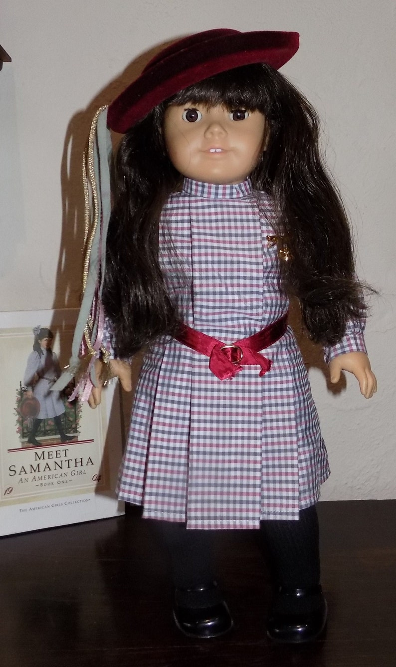 American Girl Doll Samantha Retired Meet Outfit Black Tights Pleasant Company PC