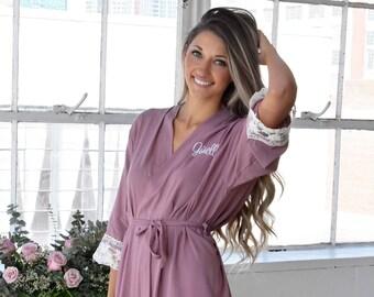 3cbe8043f SET of 2, 3, 4, 5, 6, 7, 8, Bridesmaid gift, bridesmaid robes, cotton lace  robe, bridal party robe, monogram robe, maid of honor robe