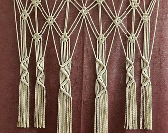 macrame curtain etsy. Black Bedroom Furniture Sets. Home Design Ideas