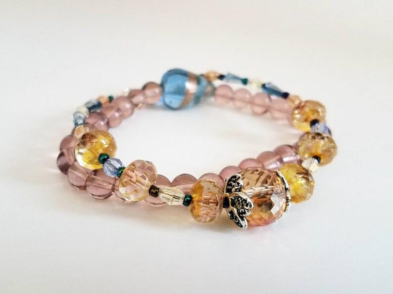 Pink Crystal Bracelets Stretch Bracelet Set Pastel Bracelet Stack Pink and Peach Glass Crystal Bracelets Peach and Blue