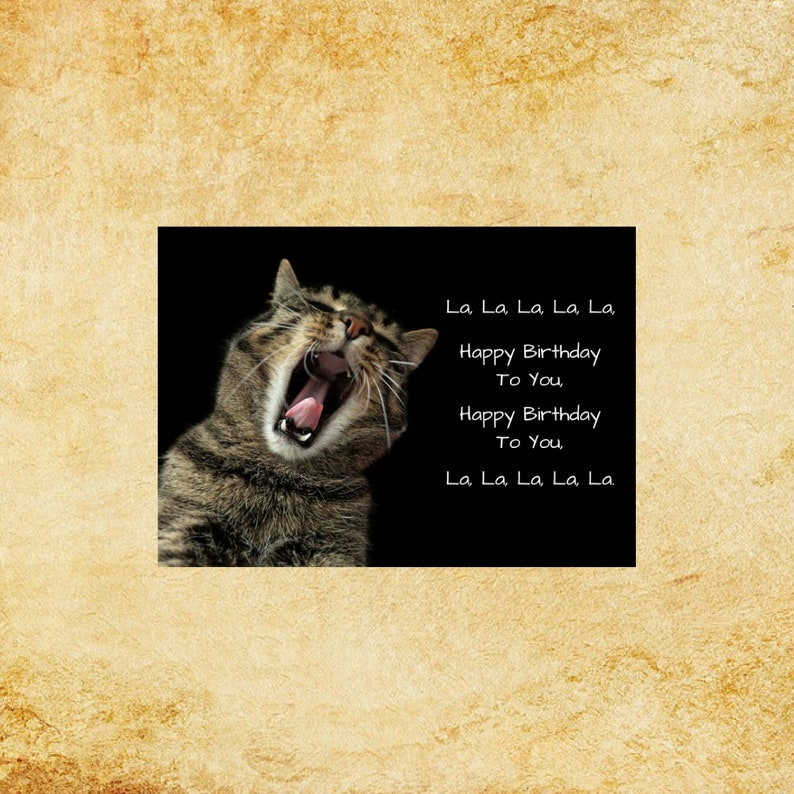 Cat Singing Happy Birthday Digital Art Print 5x7 INSTANT DOWNLOAD For Cards