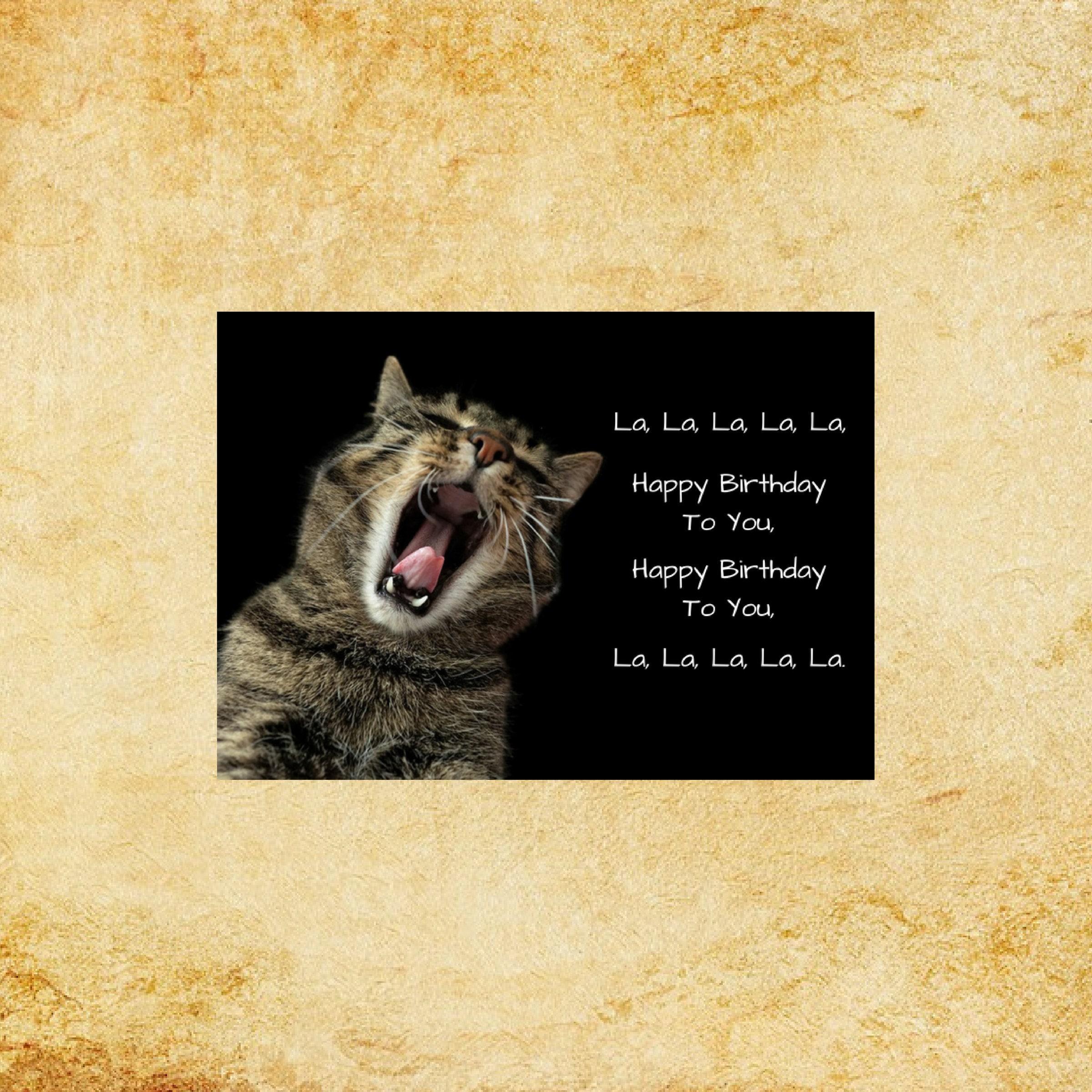 Cat singing Happy Birthday digital art print. 5x7 INSTANT | Etsy