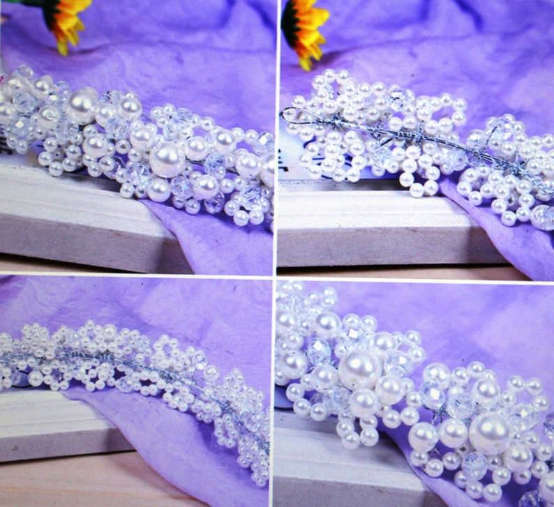 Romantic Wedding Hair Accessories For Bride Crystal Pearl Flowers Headbands Women Tiaras Hair Crown Trendy Hair Jewelry