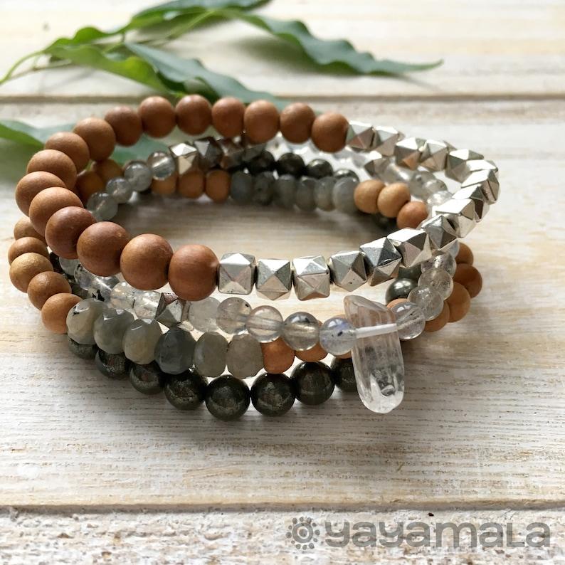 Wood Bracelet Mala Bracelet Gemstone Bracelet Labradorite Bracelet Pyrite Bracelet Sandalwood Bracelet Boho Bracelet Quartz Point