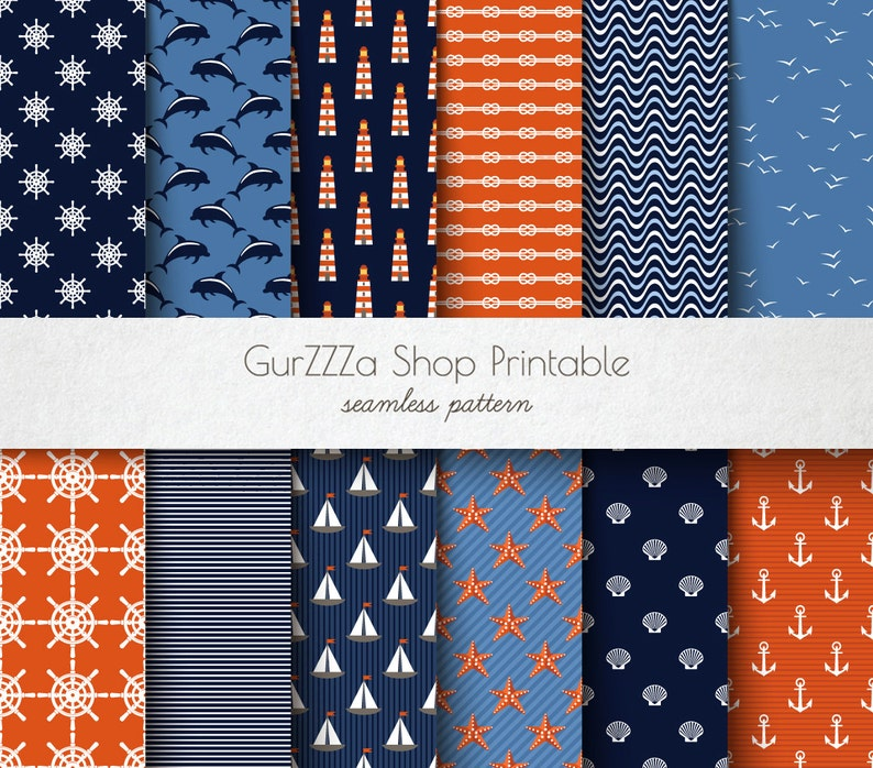 Marine Digital Paper Pack Blue Red White Seamless Sea Ocean Patterns Paper starfish anchor steering wheel dolphin seagull Scrapbook Paper