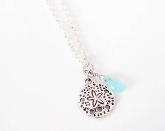 """Sand Dollar with Turquoise Bead 18"""" Silver Necklace - gift for her, wedding accessory, bridesmaids, bridal party, summer accessory"""