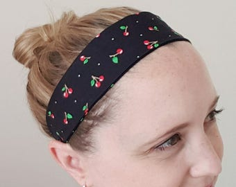 Cherry headband, retro accessories, women's headband, adult size, rockabilly accessories, elastic headband, yoga, exercise, workout wear