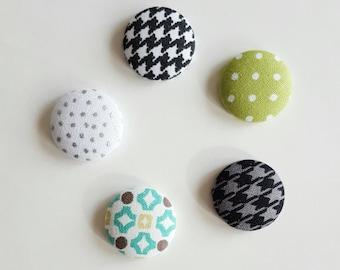 Fabric magnets, set of 5, fridge magnet, geometric magnet, button magnet, kitchen magnet, dorm decor, fabric button magnets, round magnets