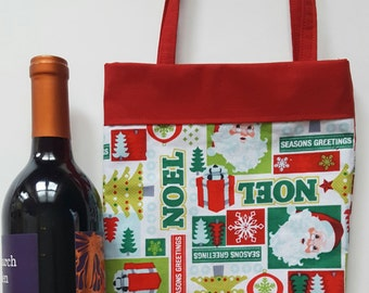 Wine tote, Christmas wine bag, holiday wine tote, wine bag, Christmas gift bag, lined wine bag, holiday gift bag, Santa wine tote