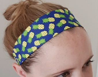 Pineapple headband, women's headband, adult size, rockabilly accessories, elastic headband, yoga, exercise, workout wear, hair band