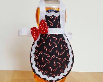 Candy cane soap apron, dish soap apron, Christmas decor, soap bottle apron, kitchen decor, candy cane decor, kitchen gift, mini apron
