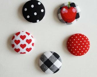 Fabric magnets, set of 5, fridge magnet, fabric button, button magnet, kitchen magnet, dorm decor, fabric button magnets, round magnets