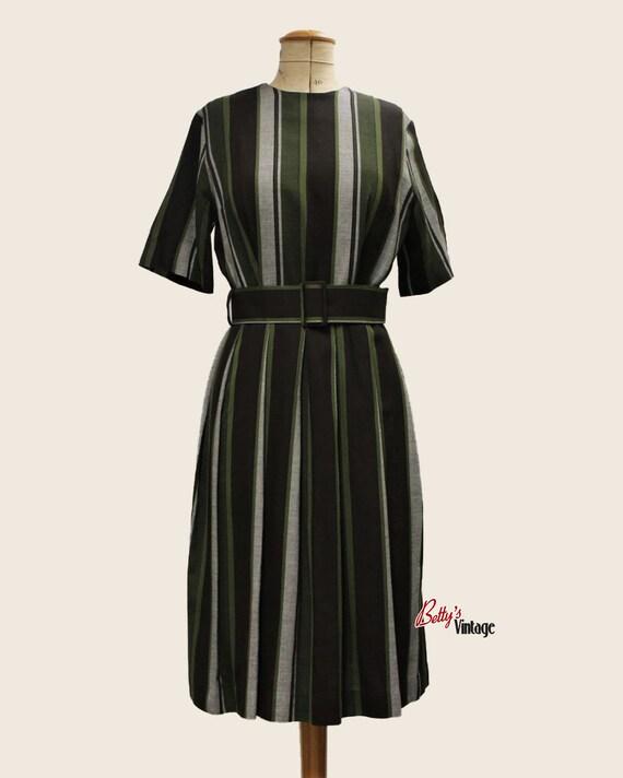 Vintage 1950's vertical striped dress, 1950's vint