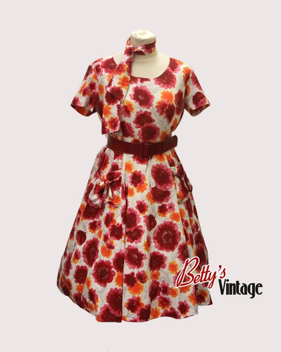 Vintage dress 1950 rockabilly with red flower, 195