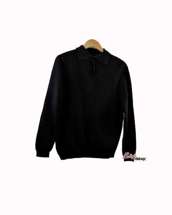 Vintage polo 1960's new black knit, Vintage 1960's