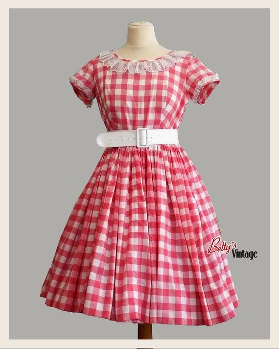 Vintage dress 1950's handmade pink vichy, rockabil