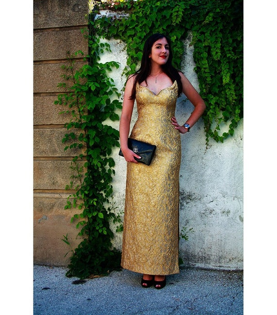 """""""ESCADA COUTURE"""" vintage 1950's gold style evening"""