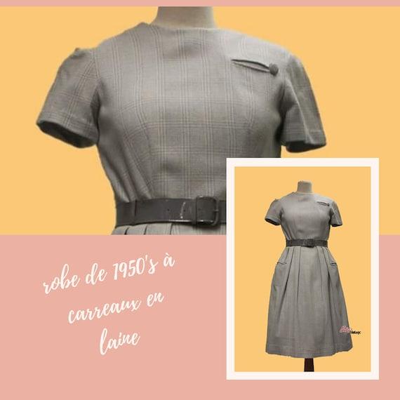 Vintage 1950's wool plaid dress, vintage plaid dre