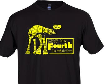 May The Fourth Be With You Funny Star Wars AT-AT Crew Neck Tee