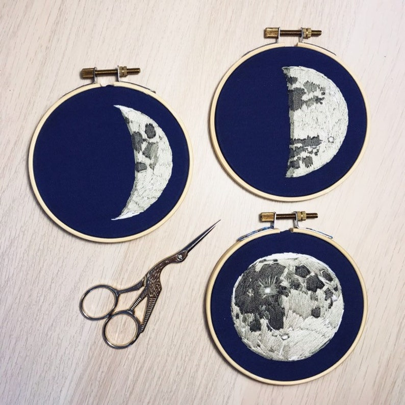Quarter Moon embroidery on 4 inch hoop