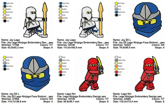 Package 8 Lego Ninjago Embroidery Designs Etsy