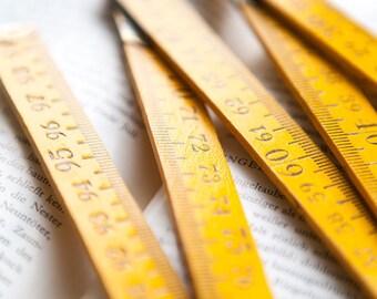 Vintage german yellow wood folding carpenter meter stick ruler