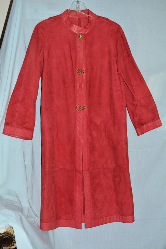Red Suede Coat With Leather by Bonnie Cashin for S
