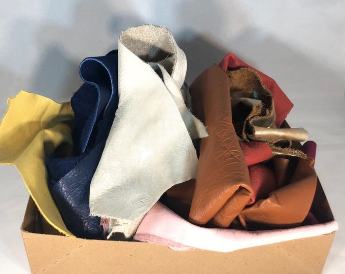 EXTRA LARGE PACK of Full Grain leather Scraps and Trimmings (5 lbs): natural grain leathers, fashion colors, metallics, embossings!
