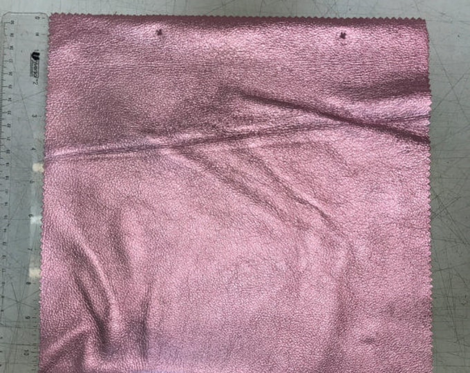 Pastel Pink Metallic Leather 12'' by 12'' pieces: Natural Grain Cow 2.5-3.0 oz (1.1 - 1.3 mm). Perfect for Handbags, Crafts, Jewelry