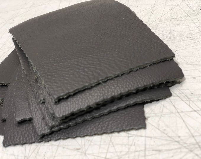 Gray Cow Leather Pieces 3.25 inches x 4.5 inches Piece. Perfect for DIY Crafts, and Small Leather Goods