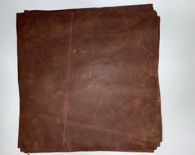 12 x 12 CUTTINGS Brandy Distressed Cow Leather. Great for Handbags, Garments, Shoes, Accessories, Earrings, Jewelry and Leather Craft