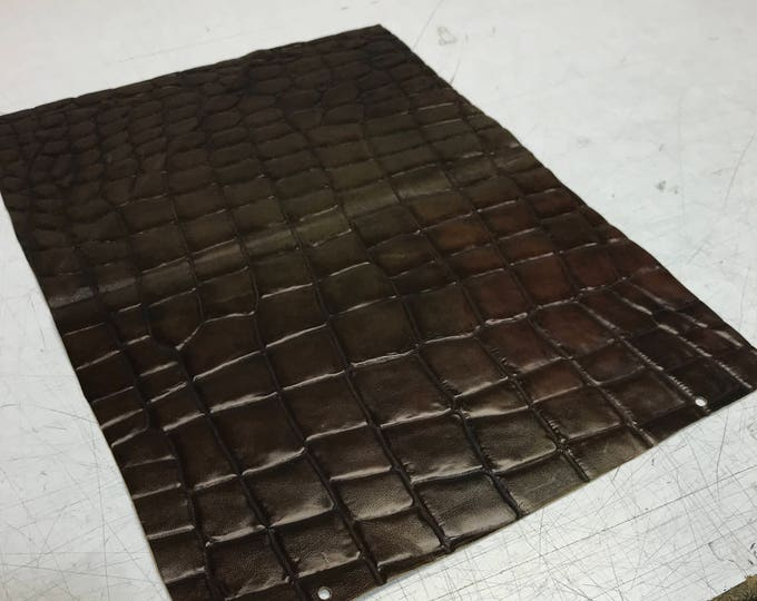 LIMITED OFFERING: 15 inch by 20 inch Brown Crocodile Embossed Cow Leather. Perfect for Handbags, Shoes, Garments, Accesories, Leather Crafts