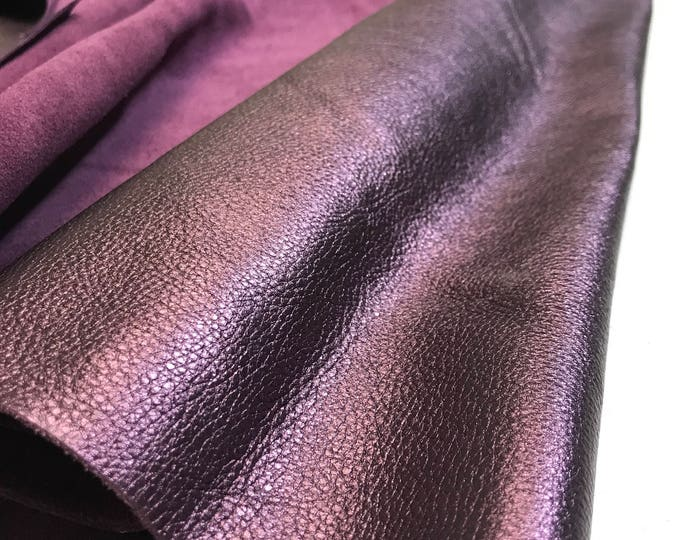 LIMITED OFFERING: Plum Metallic Natural Grain Cow Leather. 3 oz (1.1-1.3 mm). Perfect for Handbags, Shoes, Garments, Leather Crafts