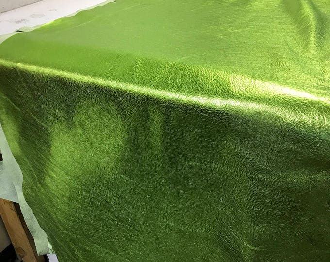 Lime Green Metallic Cow Leather (1.1-1.3 mm) 3 oz Cow Leather. Perfect for Handbags, Shoes, Garments, Accessories, and Leather Crafts