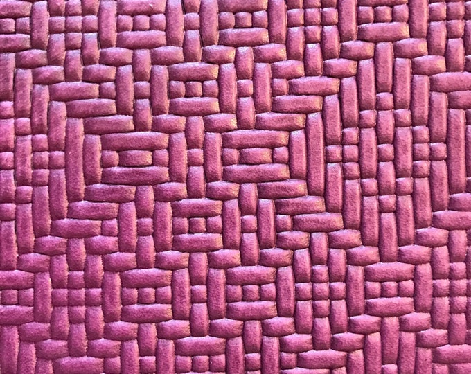 Purple Basket Weave Leather- Violet Basket Weave Embossed Cow Leather. Perfect for Handbags, Accessories, Leather Crafts, Shoes, Garments