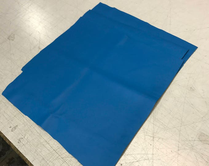 """12"""" x 12"""" Brilliant Blue Natural Grain Leather 2.5-3.0 oz Cow Side Leather. Perfect For Shoes, Handbags, Garments, and Leather Crafts"""