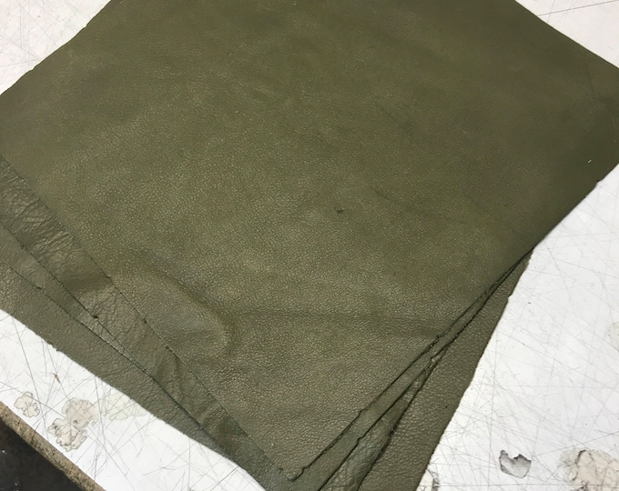 "12"" x 12"" Olive Cowhide Square Cuts: Natural Pebble Grain 3 oz Leather"
