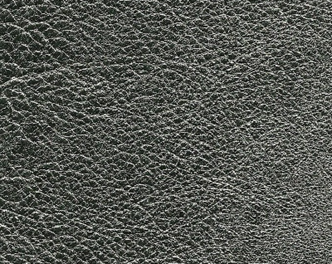 Gunmetal Metallic Leather: Natural Grain Cow Leather 2.5-3.0 oz (1.1 - 1.3 mm). Perfect for Handbags, Shoes, Garments, Crafts, Jewelry