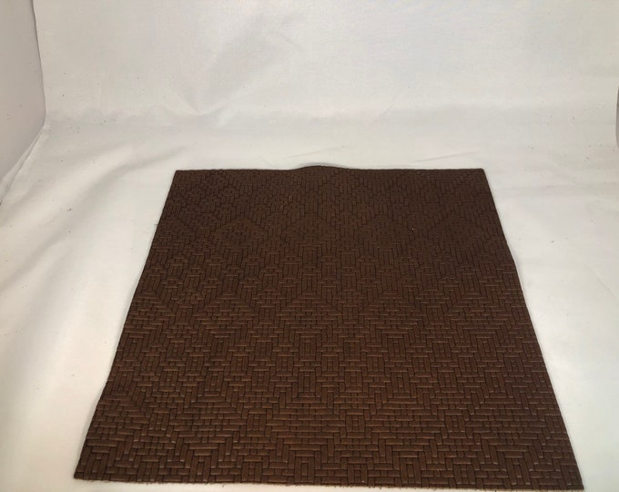 """12"""" X 12"""" Brown Weave Embossed Leather Pieces:  2.5-3.0 oz (1.1 - 1.3 mm) Cow Side Leather PERFECT for Leather Crafts, Handbags"""