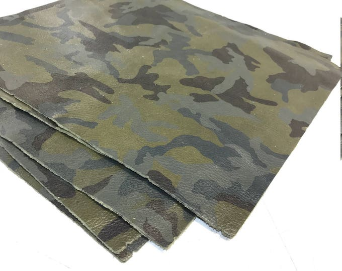 """12"""" x 12"""" Army Green Camouflage Cow Leather. Perfect for Handbags, Shoes, Garments, Accessories, Book binding, and Leather Crafts"""