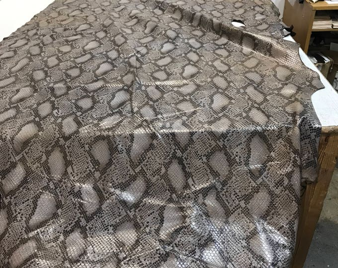 LIMITED OFFERING: Tan Python Cow Leather (1.1-1.3 mm) Perfect for Handbags,Shoes, Garments, Accessories, Leather Crafts, Seating, Notebooks